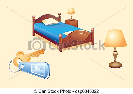 Bed clipart hotel bed Objects hotel room Illustration room