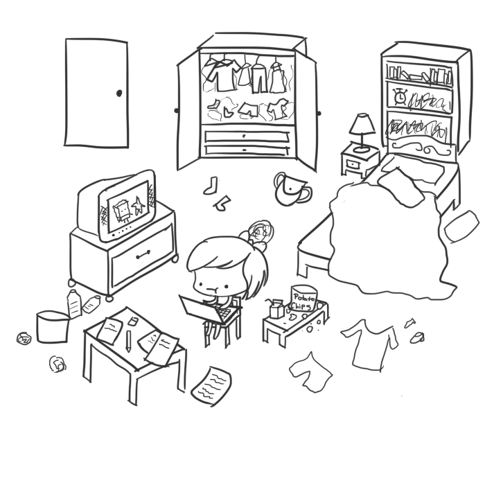 Room clipart cluttered room #7