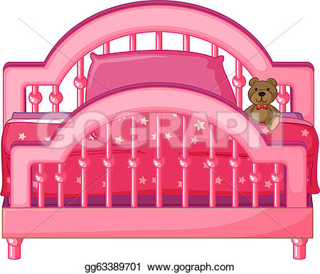 Bed clipart pink cartoon Background a Clipart Vector Drawing