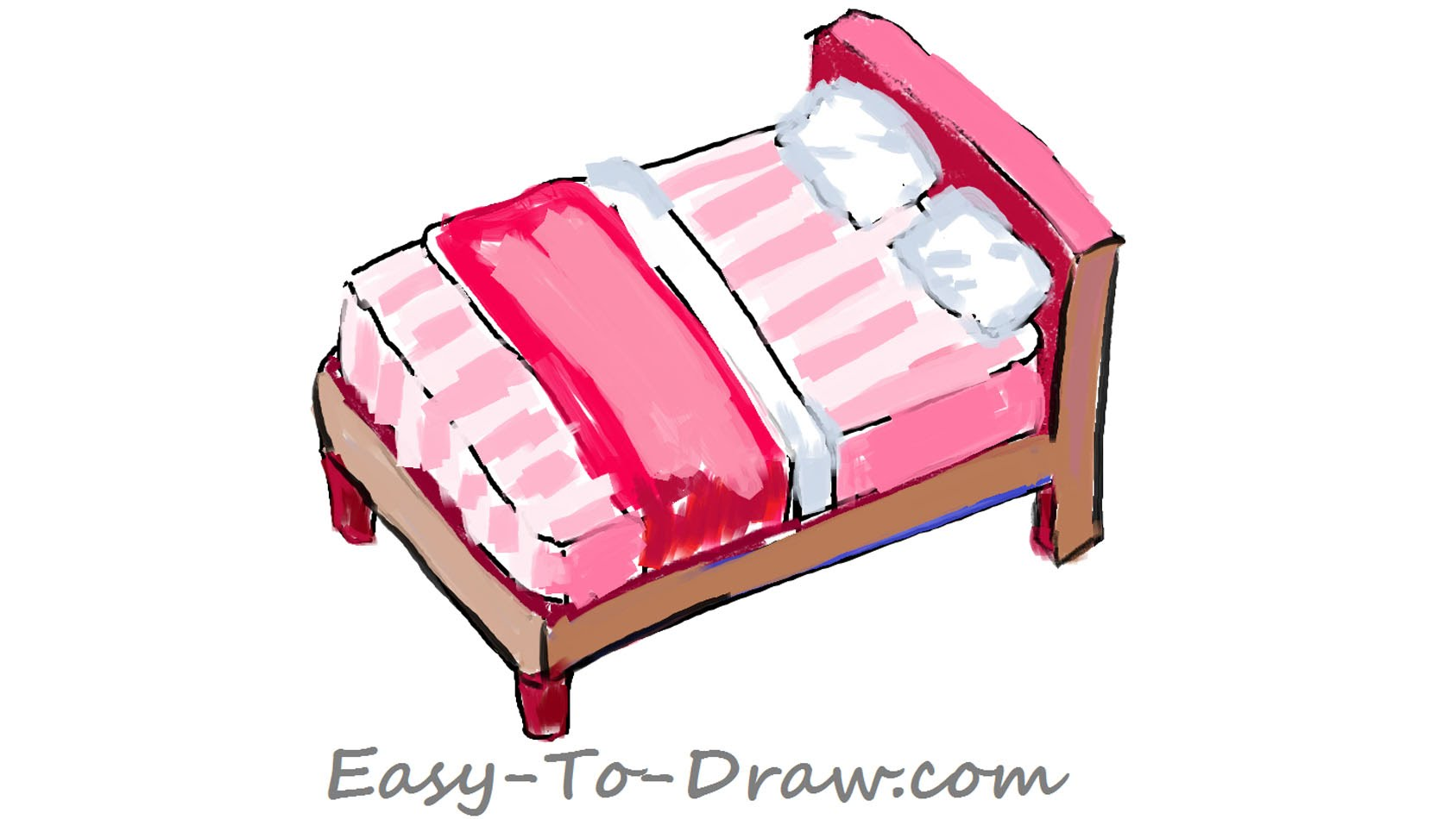 Bed clipart pink cartoon Tutorial & with How pillows