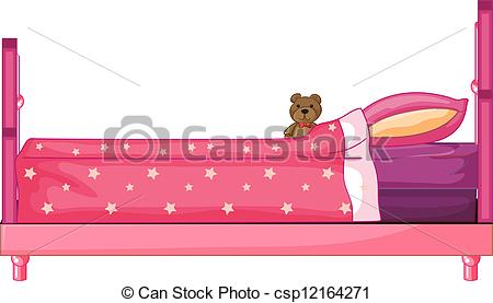 Bed clipart pink cartoon Bed a Pink bed Illustration