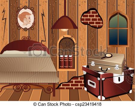 Bedroom clipart attic Illustration cartoon Illustrations free and
