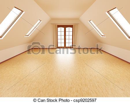 Bedroom clipart attic Loft empty Royalty Can Free