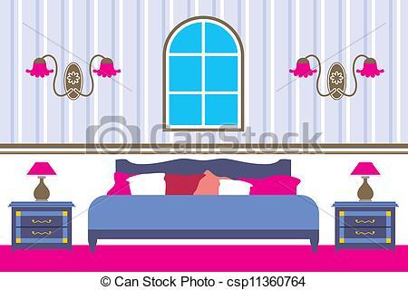 Bedroom clipart illustration Illustration Vector of Vector Bedroom