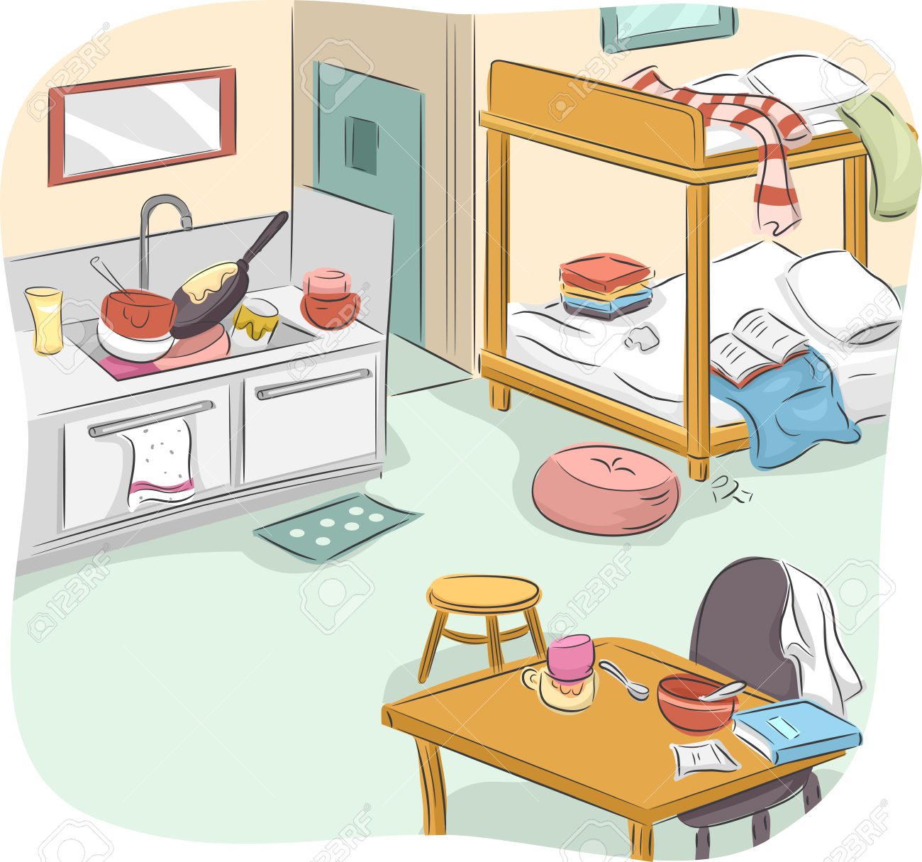 Bedroom clipart messy house Dirty Dirty  on clipart