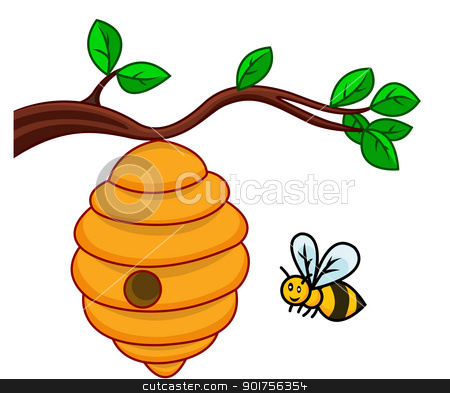 Bee clipart beehive Branch of  hive isolated