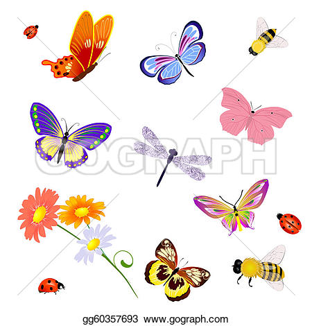Bees clipart butterfly EPS Art Clip EPS Butterfly