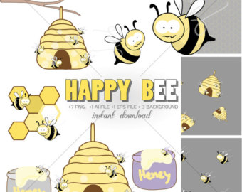 Bee Hive clipart spring Honey Etsy clipart bees whimsical