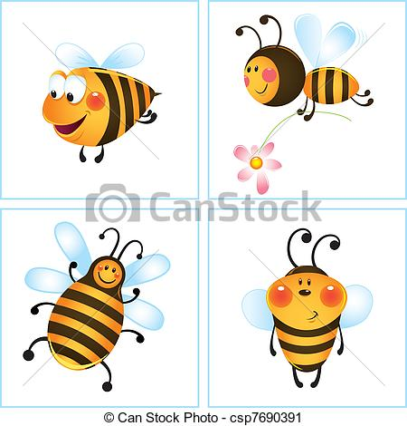 Bees clipart four Clip csp7690391 funny bee Art