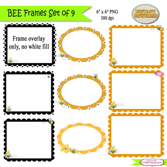 Bee clipart frame Clip 9 Digital Frames Bee