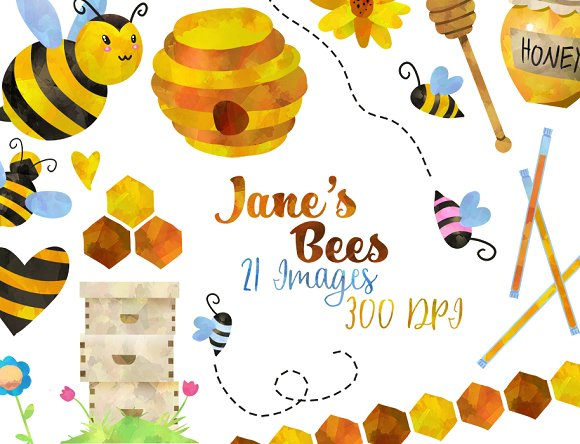 Bees clipart orange Market Clipart Bee Honey Watercolor