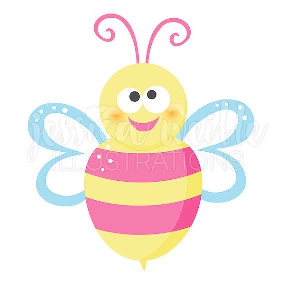 Bee clipart pink Clipart Bee Happy Clip Il_570xn