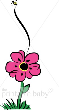 Bee clipart pink Flower Baby Bee Flower Clip