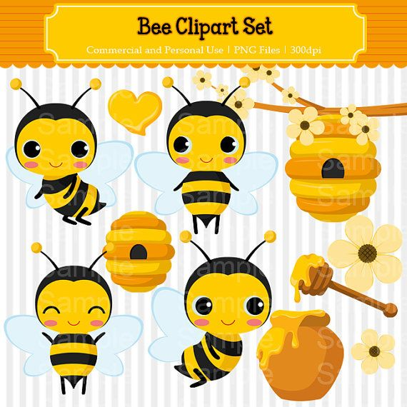 Bees clipart sweet honey Bee Set and Use Cliparts