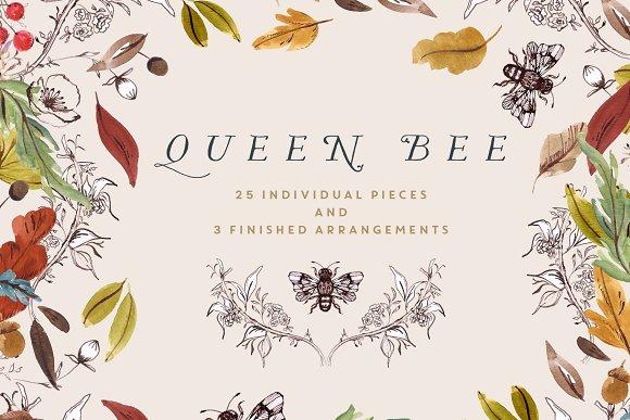 Bee clipart queen bee Art Art Illustrations on Creative