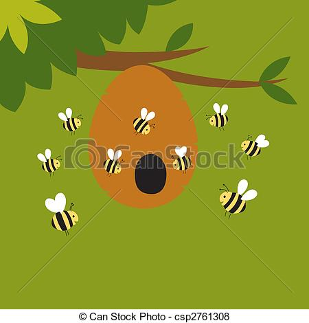 Bee Hive clipart flying Around Illustration bees flying hive