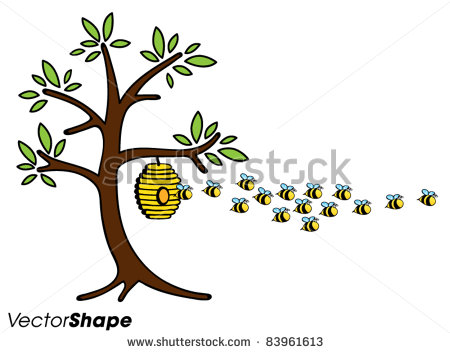 Bee Hive clipart flying Bees Clipart  Away Flying
