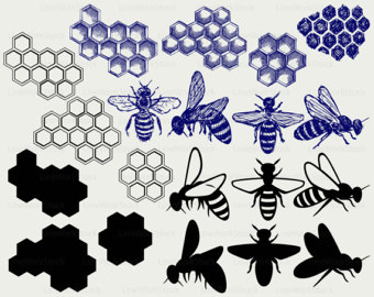 Bee Hive clipart honeycomb Insect svg silhouette Etsy honey