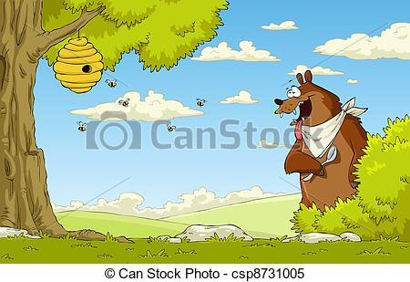 Bee Hive clipart tree clip art Hungry A bear csp8731005 bear