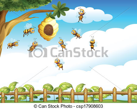 Bee Hive clipart tree drawing A and group a Clipart