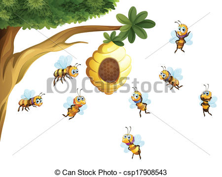 Bee Hive clipart tree drawing  surrounded surrounded A beehive