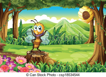 Bee Hive clipart tree drawing And and a above EPS