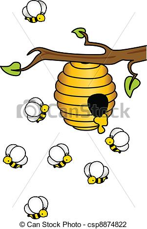 Bee Hive clipart tree drawing Vector Image a Illustration Hive