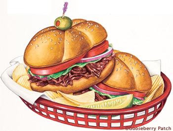 Sandwich clipart fancy food Clipart 350x266  Resolution Bbq