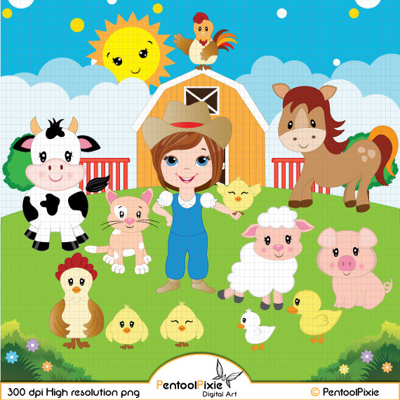 Cattle clipart barnyard animal Horse Farmyard Cow Farmyard Cow