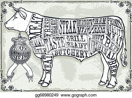 Beef clipart vintage Of Vector of of