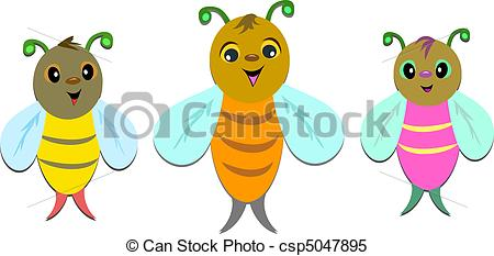 Bees clipart three Line Bees Three of in