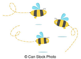 Bees clipart three Of Clipart Vector Bees set