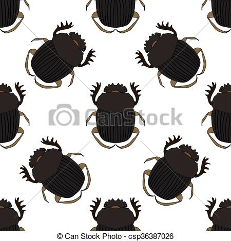 Beatle clipart dor Hand illustration with Vector Seamless