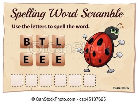Beetle clipart game Game Illustration Spelling with of