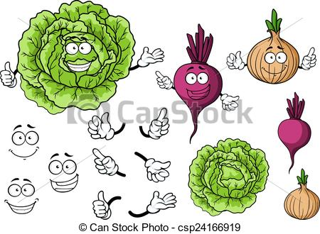 Cabbage clipart happy Onion beet cartoon csp24166919 Vector