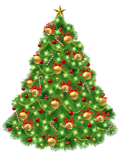 Bell clipart christmas tree decoration  Tree with Transparent Ornaments