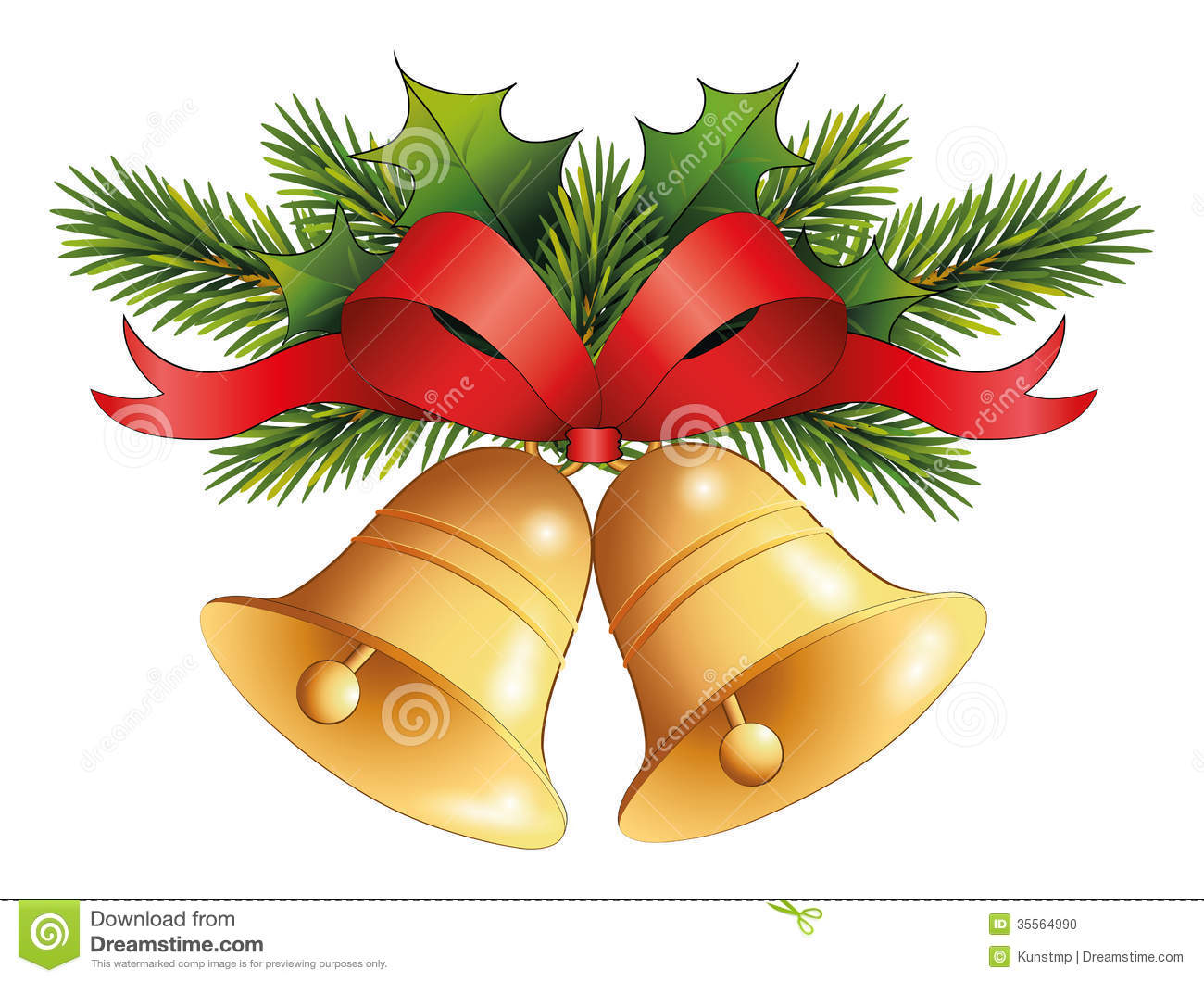Holley clipart christmas bell With Christmas Christmas Gold christmas