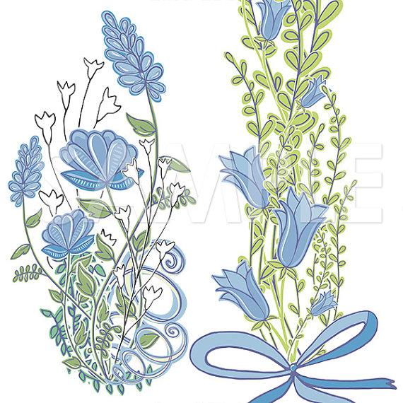 Blue Flower clipart blue bell Wedding Frames a digital Wreath