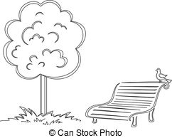 Bench clipart black and white 11 small park with Illustrations