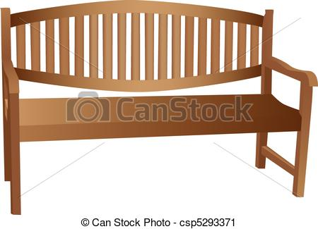 Bench clipart wooden bench Illustrations back and wooden arm