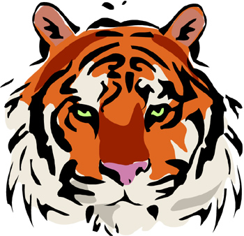 Tiger clipart red #11