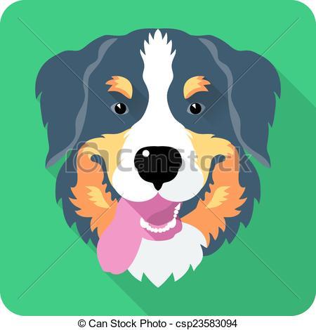 Bernese Mountain Dog clipart head Flat bernese Mountain EPS dog