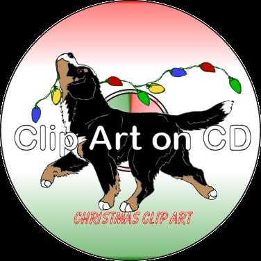 Bernese Mountain Dog clipart head Christmas on CD Clipart Bernese