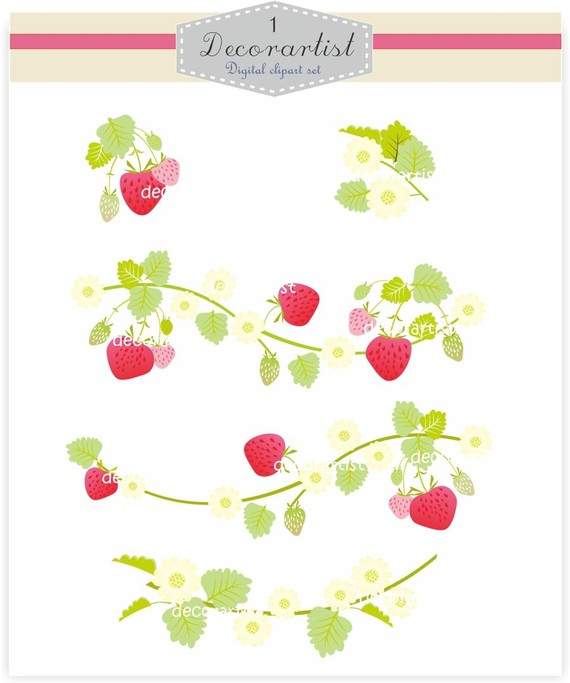 Berry clipart flower Border strawberry set and clipart