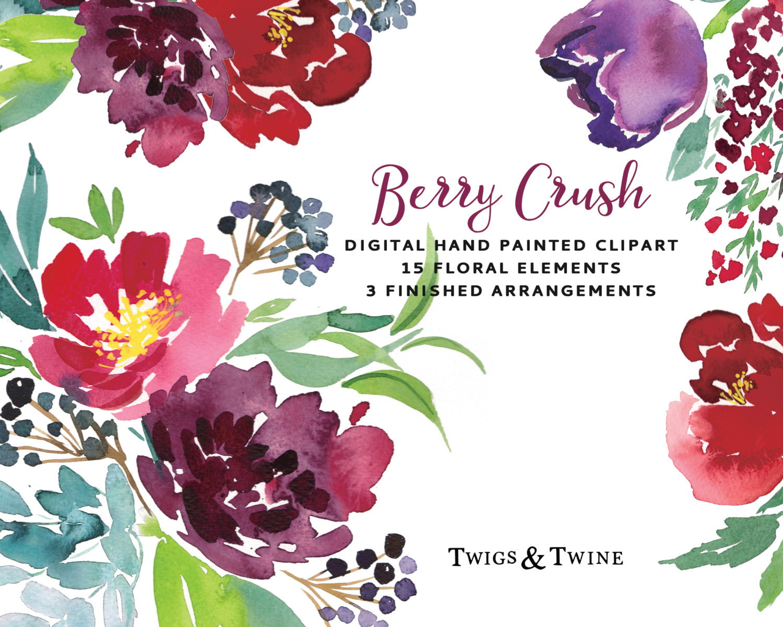 Berry clipart flower Hand Flowers  Berry a