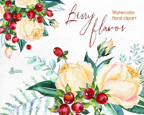 Berry clipart flower Kerstmis smaak boeketten  bloemen