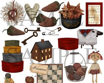 Berry clipart primitive 111 Art Country Art on