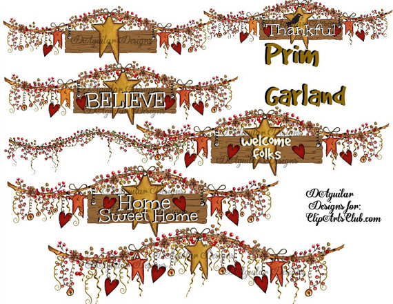 Berry clipart primitive Style High crow stars berries