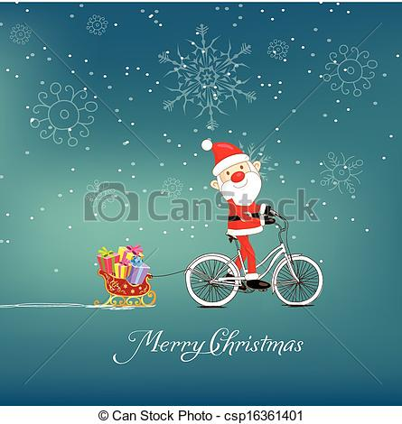 Bike clipart christmas Christmas santa  Clipart on