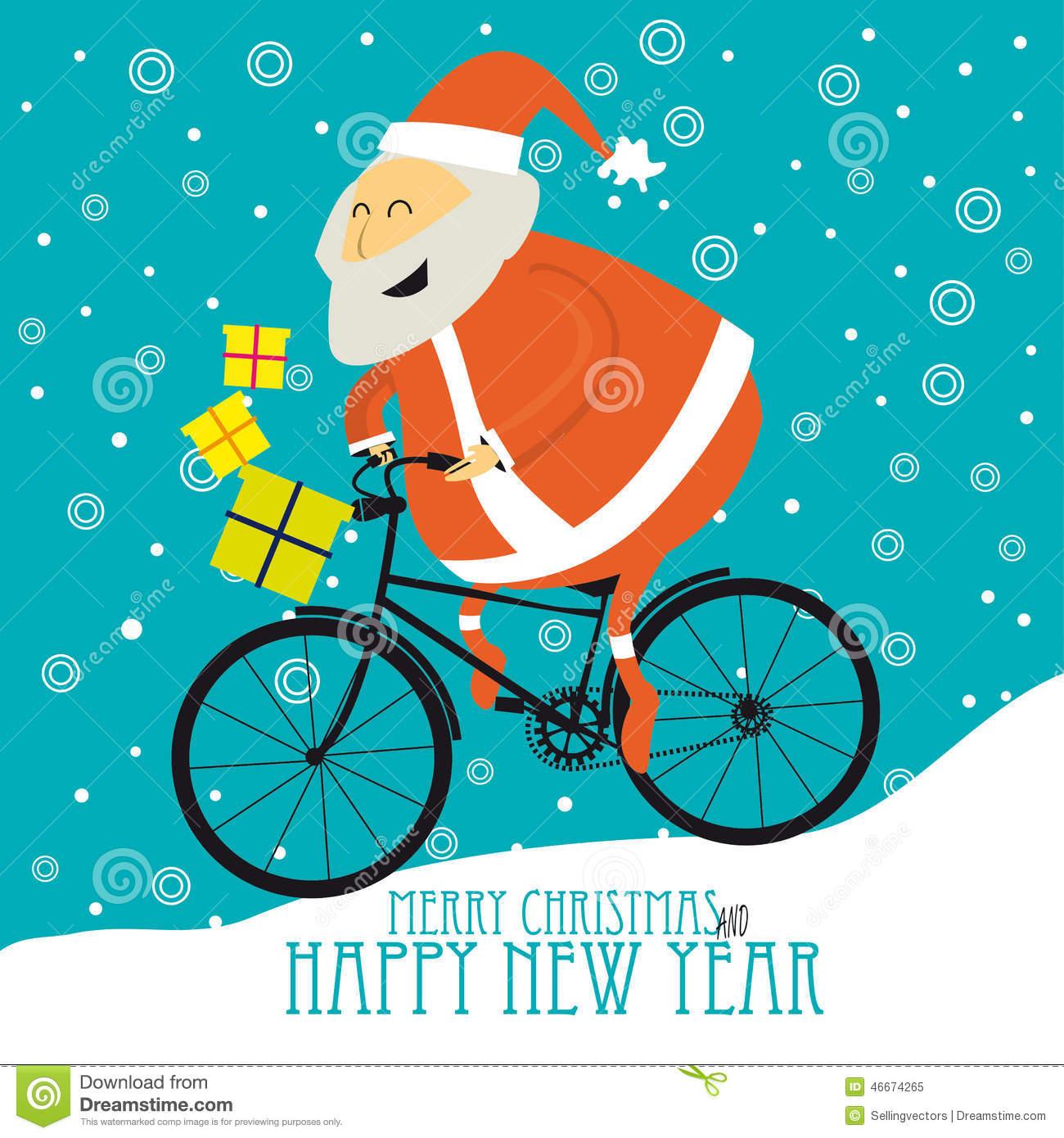 Bike clipart christmas Cartoon a clipart Santa on